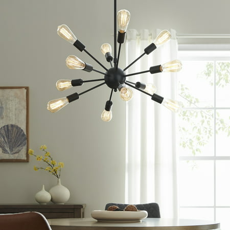 BELLEZE Sputnik Chandelier Mid Century Modern Pendant 12 Light Rustic Ceiling Light Bronze & Black Living Room Lighting