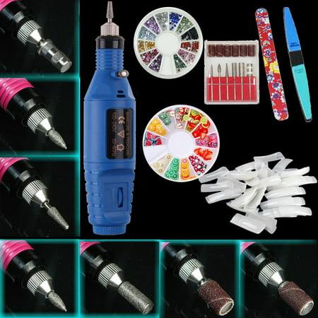 iMeshbean Professional Acrylic Blue Nail Art Drill KIT Electric File Buffer Bits Salon Pen (Price Of Acrylic Nails At A Salon)