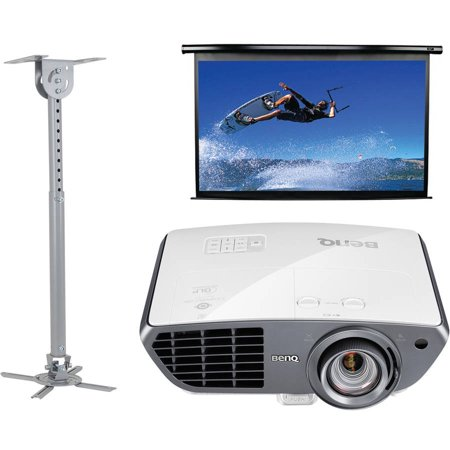 BenQ HT4050 Colorific DLP Full HD Short-Throw Home Theater Projector, Elite Screens Electric100H Spectrum Series 100