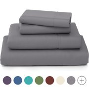 Cosy House Collection Luxury Bamboo Bed Sheet Set - Hypoallergenic Bedding Blend - 4 Piece - Twin, Grey