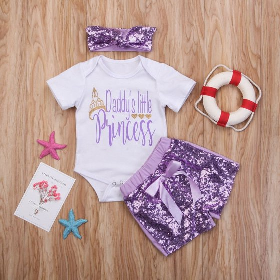 18ac26ffb Emmababy - Summer Newborn Baby Girls Sequins Outfit Clothes Tops ...