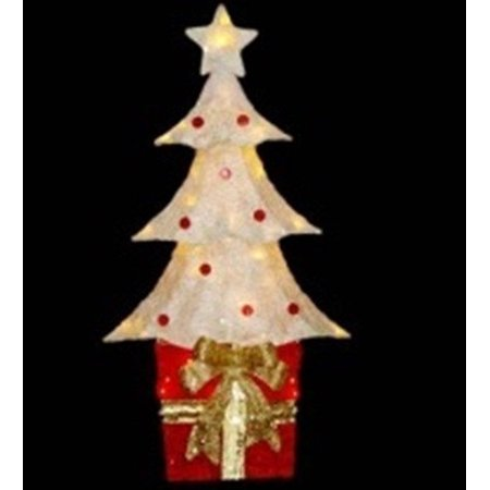32 lighted sparkling red and cream sisal christmas tree for Where can i buy a red christmas tree