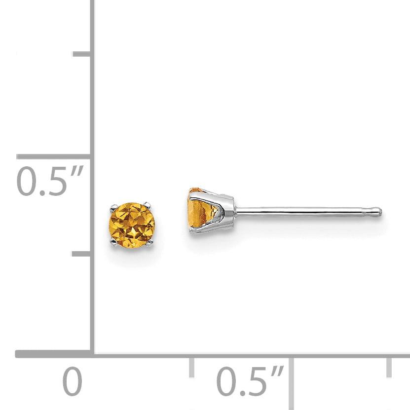 14K White Gold 3mm Citrine Stud Earrings - image 1 of 2