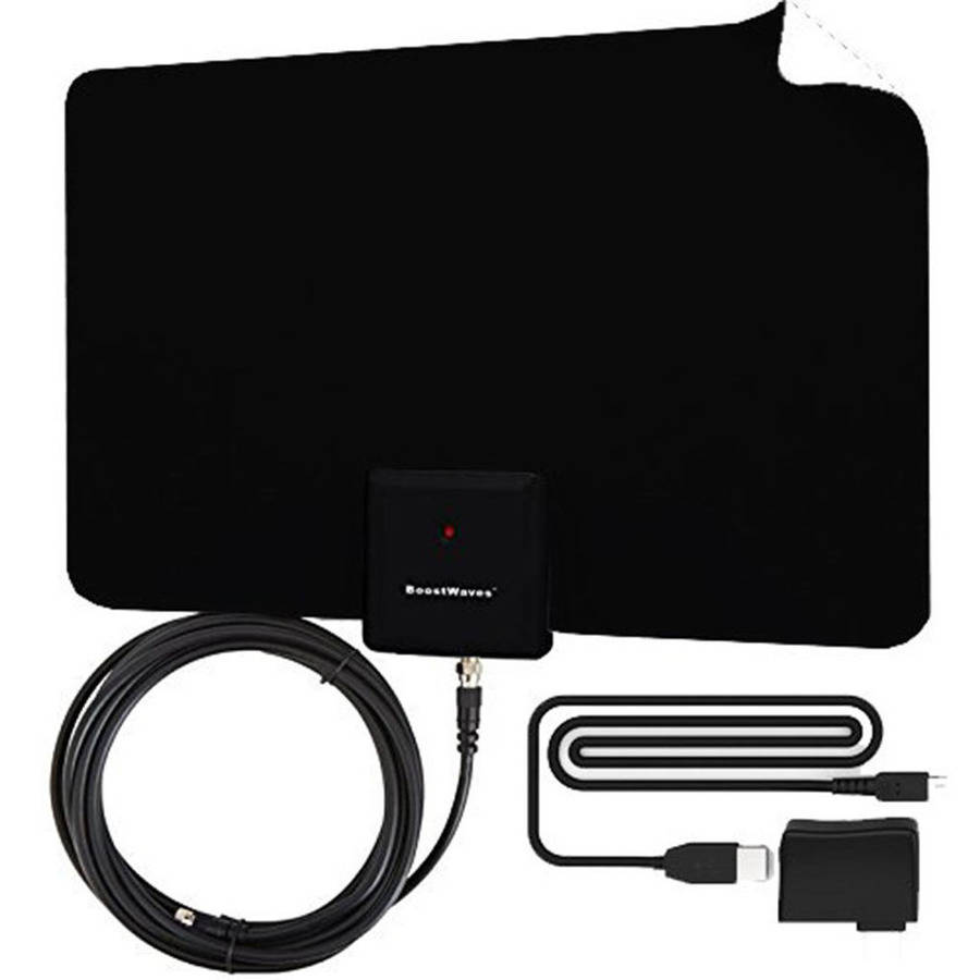 BoostWaves Supreme Amplified Razor 30 Mile HDTV Indoor Flat Leaf Antenna with RG6 Cable