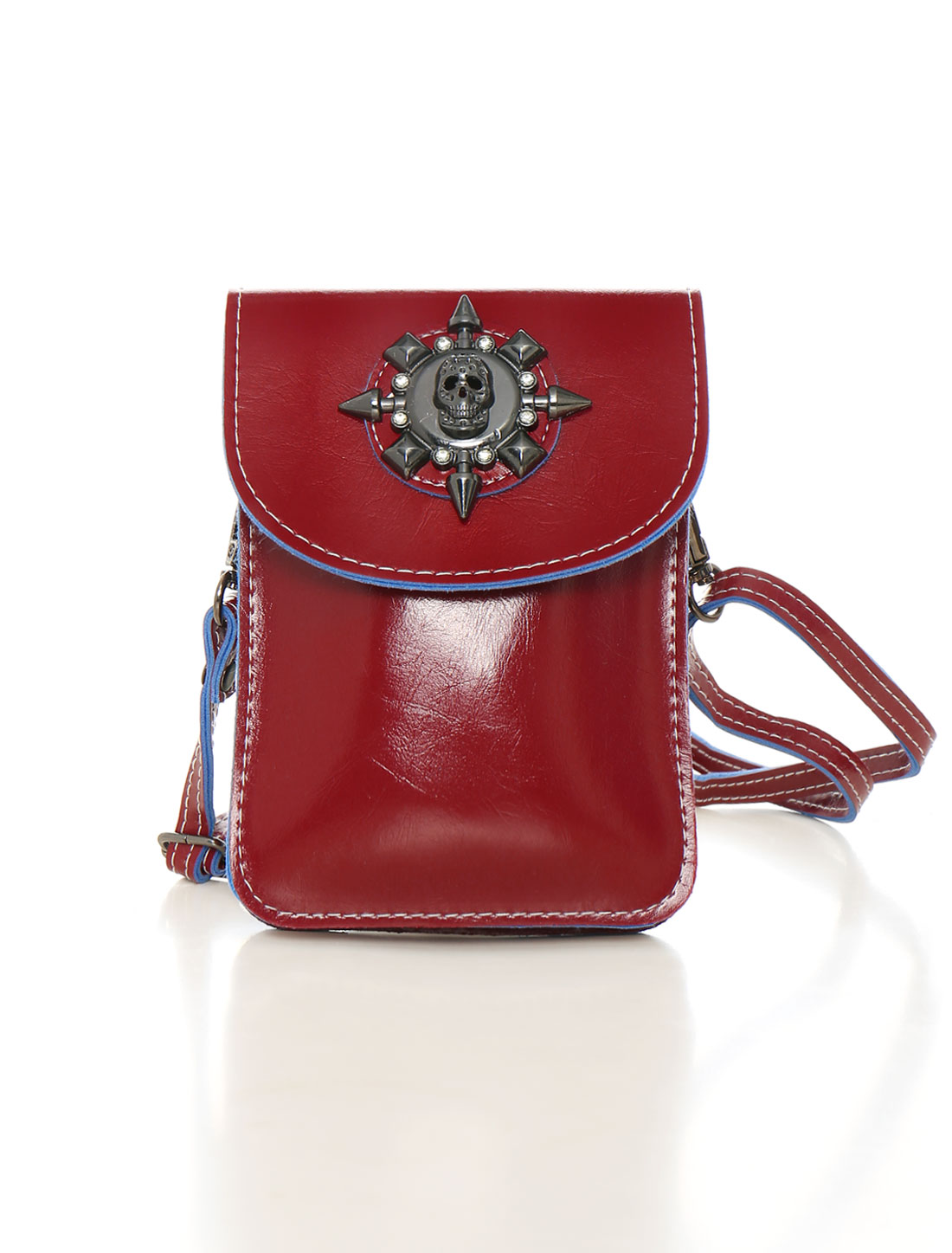 Unique Bargains Women's Shoulder Strap Metallic Skull Decor PU Crossbody Bag Red