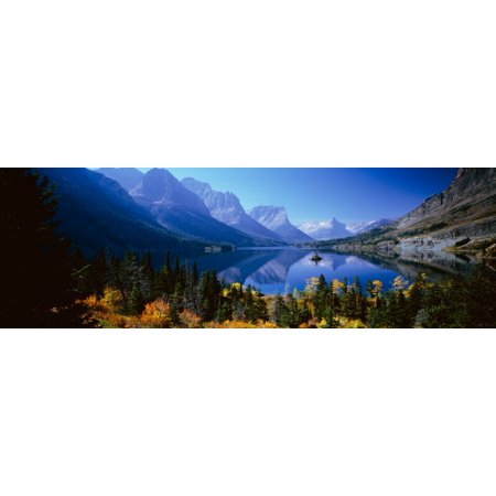 Mountains Reflected In Lake Glacier National Park Montana USA Poster Print (8 x