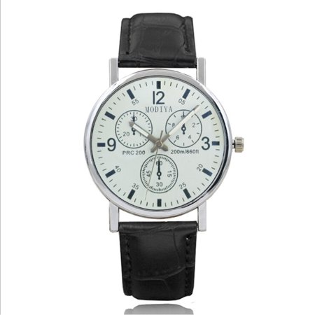 Luxury Leather Gift - BD Glass Mens Watches Top Luxury Leather Strap Wristwatch Mens Gift Quartz Watch Waterproof