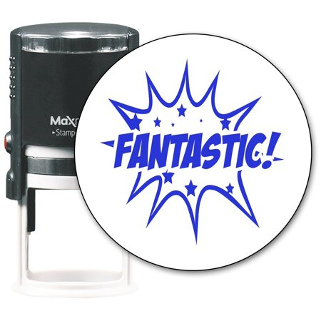 MaxMark Round Teacher Self Inking Stamp - Jumbo Series with Blue Ink (TS318 - FANTASTIC)