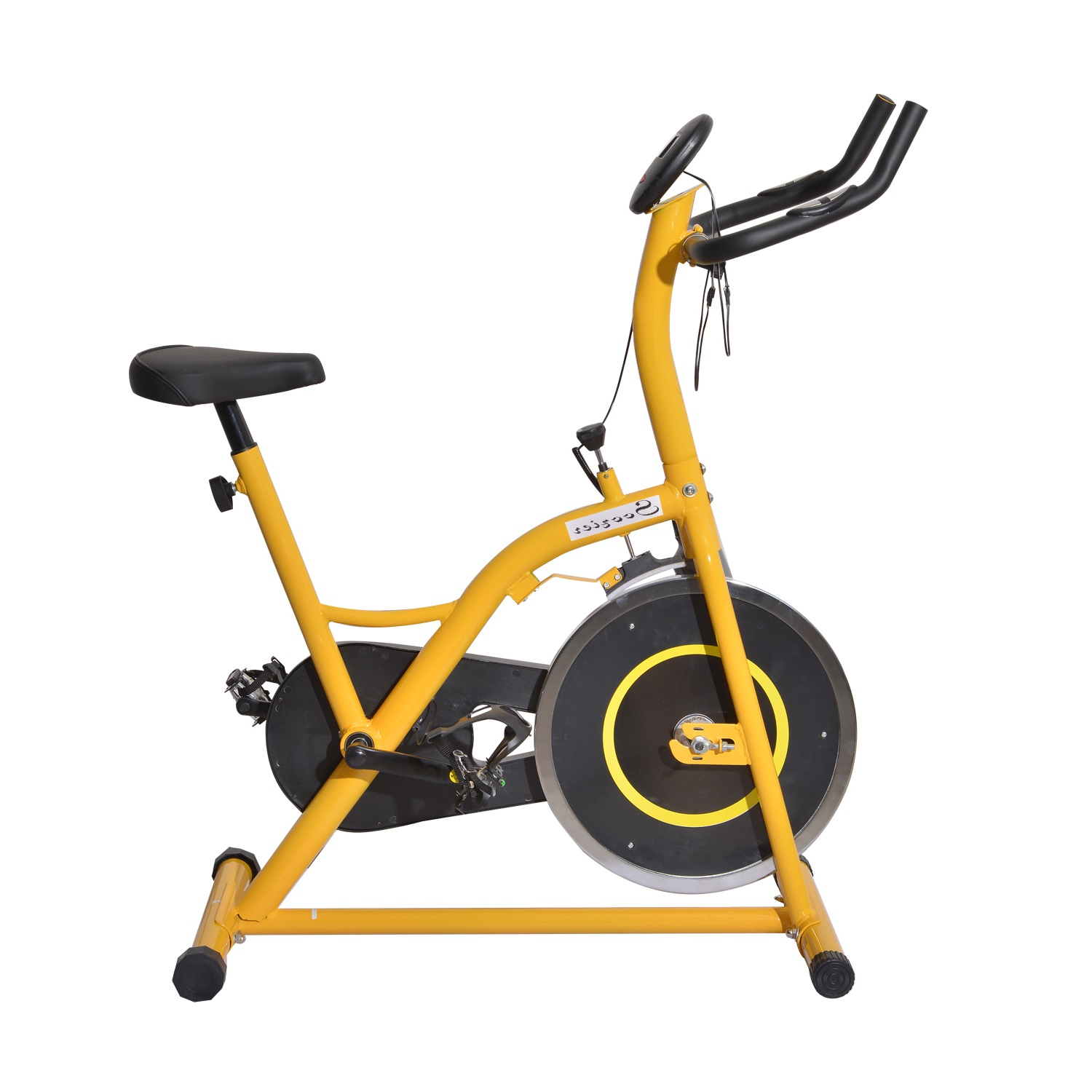 Soozier Upright Stationary Exercise Cycling Bike w/ LCD Monitor - Yellow and Black