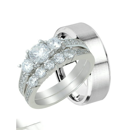 His and Hers Wedding Ring Set Matching Wedding Bands for Him and Her (5/13)