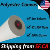 """60""""x100' Matte 100%Polyester Inkjet Canvas Roll Eco-solvent Epson Canon Printer"""