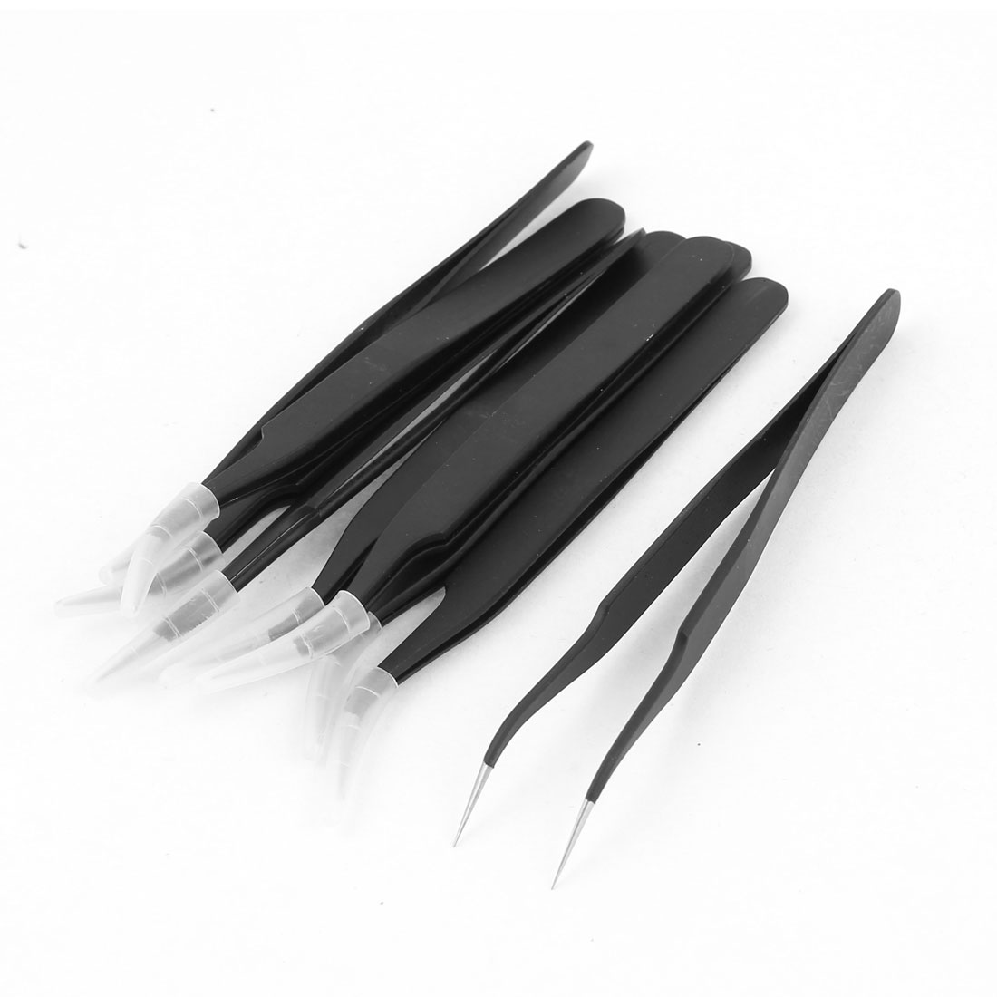 """Unique Bargains 9pcs 5"""" Black Stainless Steel Hand Tool Nipper Anti-Static Curved Tweezers"""
