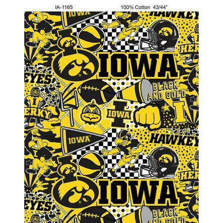 University Tennessee Fabric (University of Iowa Hawkeyes Pop Art Graffiti Print Cotton Fabric-Sold by the yard )