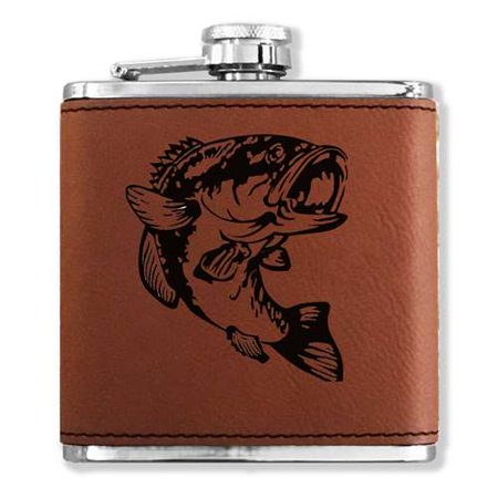 Faux Leather Flask - Bass Fish - Dark Brown