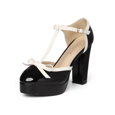 Unique Bargains Women's Bow T-Strap Chunky Heel Platform Patent Pumps