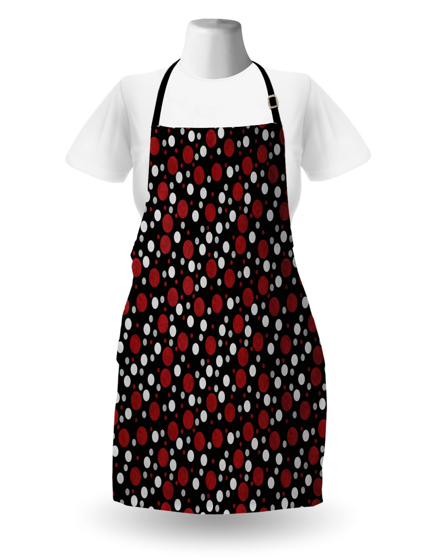 60s70s Red and White Polka Dot Bow Print Full Open Back Apron SmallMed 1960s 1970s Handmade Apron Cute Apron with Bows and Polka Dot