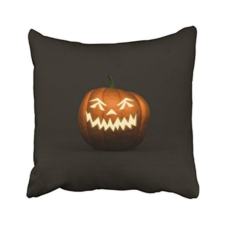 WinHome Happy Halloween Scary Pumpkin Light Simple Blackground Decorative Pillowcases With Hidden Zipper Decor Cushion Covers Two Sides 20x20 inches