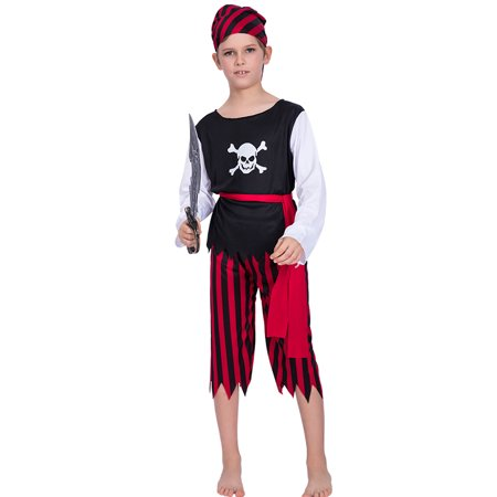 Child Halloween Skull Pirate Costume Shirt + Pants + Belt + Bandana Kit Masquerade Costume Cosplay Party Props--L Size for 8-10 Years Old - Simple Halloween Crafts For 2 Year Olds