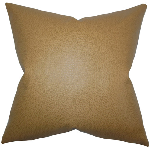 The Pillow Collection Quintas Solid Faux Leather Throw Pillow