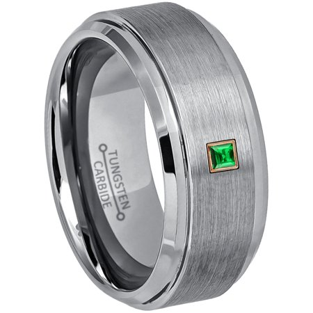 0.05ctw Princess Cut Tsavorite Tungsten Ring - 9MM Brushed Stepped Edge Tungsten Carbide Wedding Band - January Birthstone Ring - 14kt Rose Gold Bezel - TN023PSRG-1TVRs8