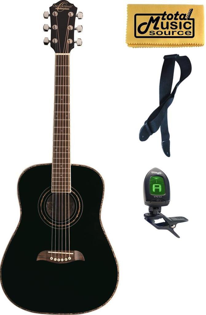 LEFTY Oscar Schmidt 1 2 Size Student Black Acoustic Guitar FREE STRAP TUNER, OGHSBLH PACK by Oscar Schmidt