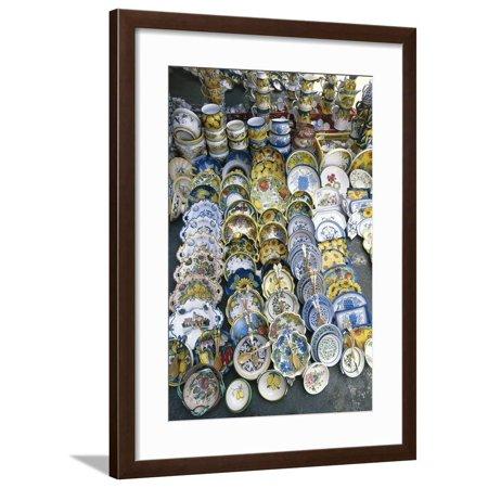 Display of Handmade Maiolica of Deruta, Passignano Sul Trasimeno, Umbria, Italy Framed Print Wall Art