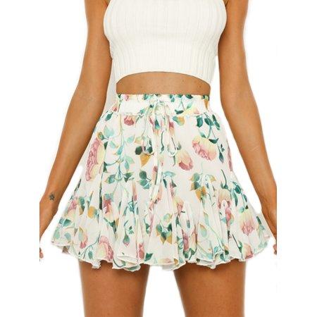 Women's Pleated Vintage Skirt Floral Print Chiffon A-line Midi Skirts