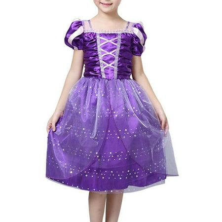 Purple Rapunzel Dress (Vintage Kids Girls Princess Costume Fairytale Aurora Rapunzel Lace Party)