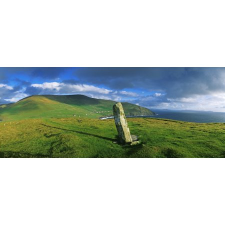 Stone On A Landscape Ogham Stone Dunmore Head Dingle Peninsula County Kerry Republic Of Ireland Canvas Art - The Irish Image Collection  Design Pics (31 x 12) (Autographed Kerry Wood)