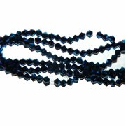 Metallic Blue Faceted 6mm Bicone, Loose Beads, 48 Piece Luster Glass, Loose Beads,