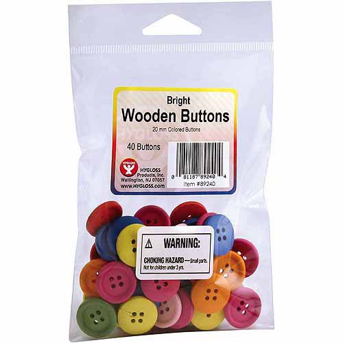 Bright Wooden Assorted Color Buttons