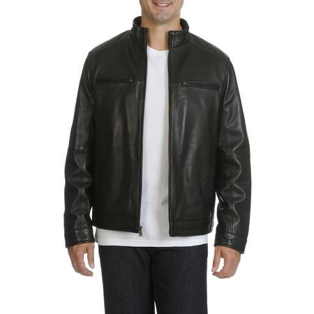 Boston Harbour  Men's Leather Stand Collar Moto (Boston Harbour Leather Wind Resistant Moto Jacket)