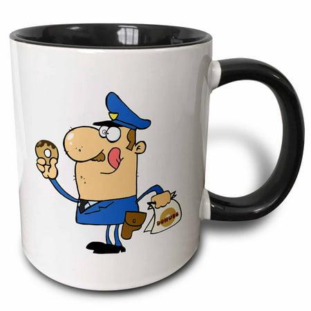Ceramic Donut (3dRose Funny Cartoon Cop Eating Donuts - Two Tone Black Mug, 11-ounce )