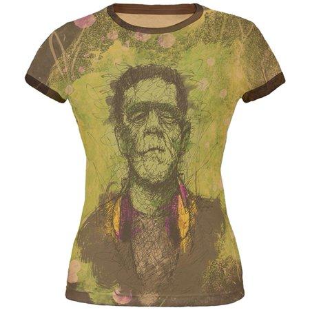 Halloween Frankenstein Raver Horror Movie Monster Juniors Soft Ringer T Shirt - Frankenstein Halloween Song