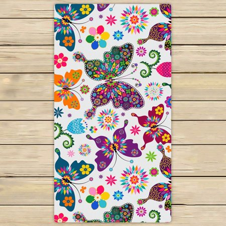 GCKG Butterflies Towels,Beatiful Flying Butterflies Beach Bath Towels Bathroom Body Shower Towel Bath Wrap For Home,Outdoor and Travel Use Size 30x56 inches