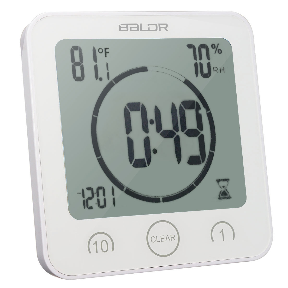 Wall Clock Waterproof Shower Bathroom Digital Clock Table Hygrometer Thermometer ,White by