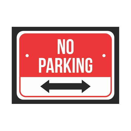 (No Parking (Double Arrow) Sign Print Red, White And Black Notice Parking Plastic Small Signs, 7.5x10.5 Inch)