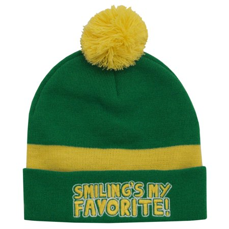 Elf Smiling's My Favorite Christmas Movie Adult Pom Beanie Hat - Paper Elf Hat