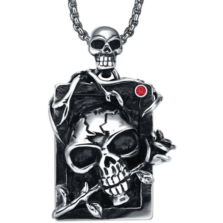 Stainless Steel Gothic Demon Skull and Rose  W. Red Crystal Pendant