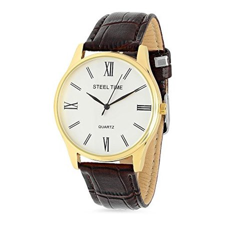 Men's 18k Gold Plated Watch With Stainless Steel Backing And Brown Bicast Leather Strap