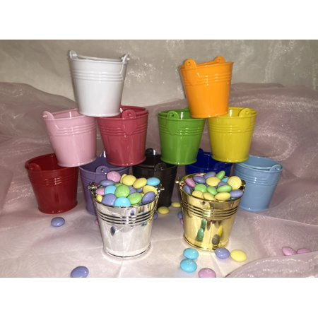 Charmed Mini Beach Sand Plastic Buckets Party Favors Candy Box Baby Shower; Gold; 12