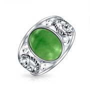 Bali Oval Cabochon Dyed Green Jade Rope Scroll Filigree Statement Band Ring for Women 925 Sterling Silver August Birthstone