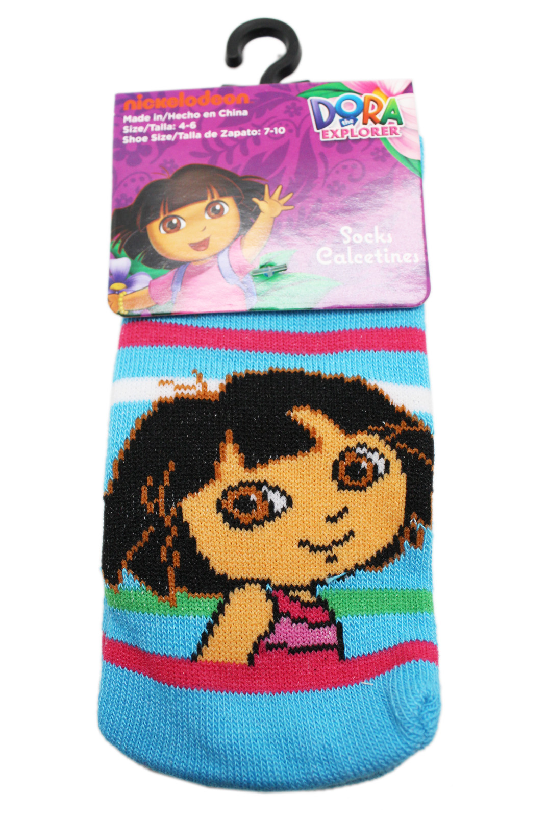 Dora the Explorer Striped Blue Colored Toddler Socks (2 Pairs. Size 4-6)