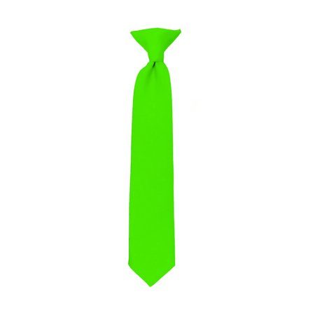 NYfashion101 Boy's Solid Clip on Tie- Hot Lime - image 1 de 1