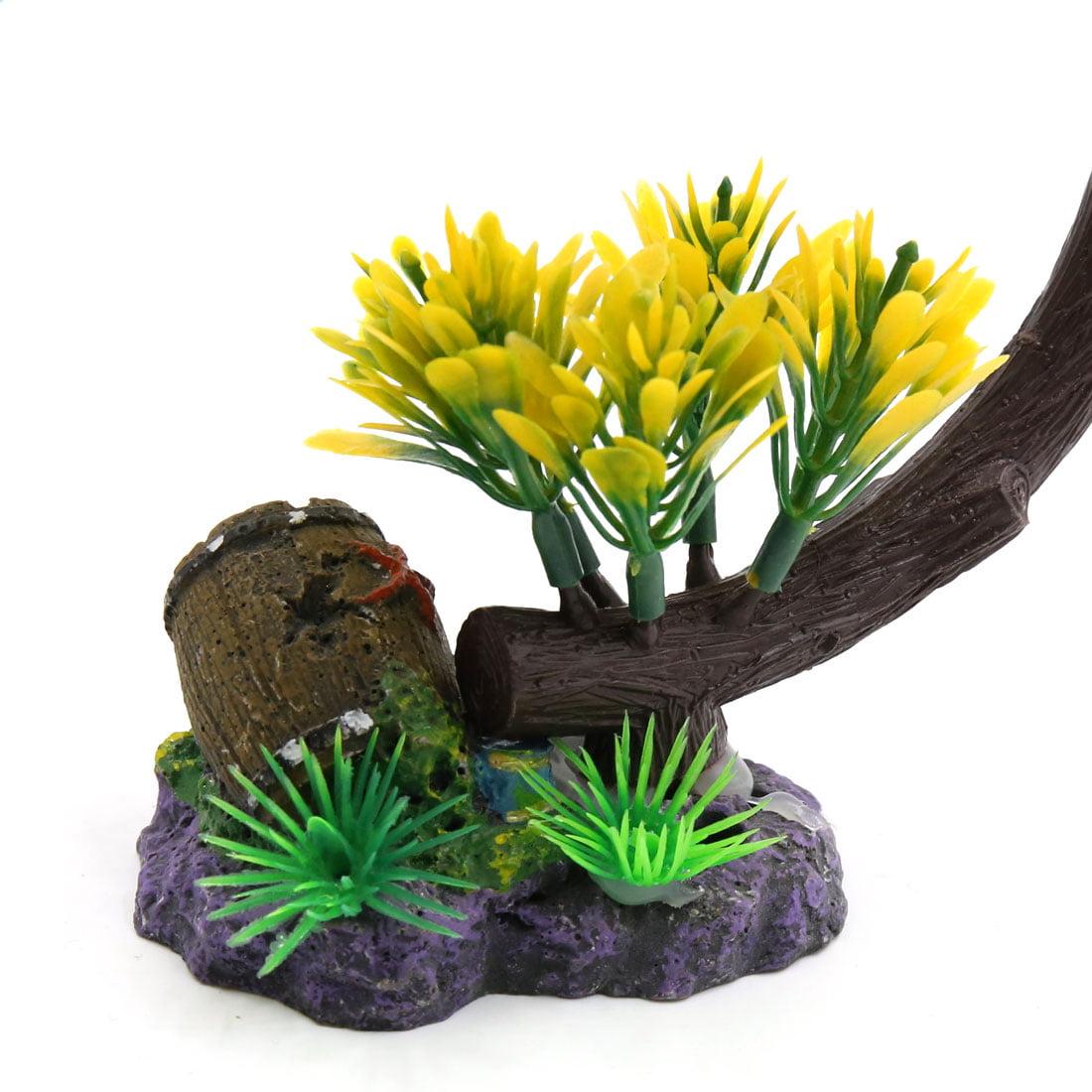 Yellow Plastic Tree Plant Decoration Aquarium Waterscape Ornament Home Decor - image 1 de 3