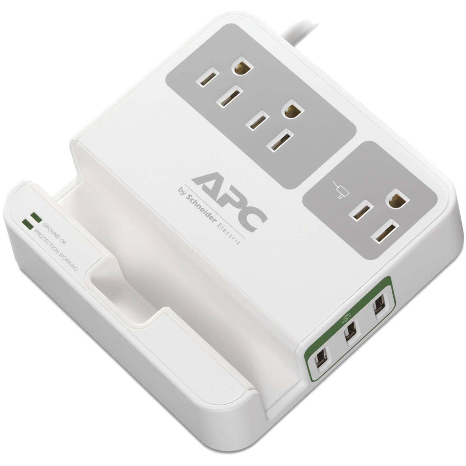 APC P3U3 3-Outlet SurgeArrest Surge Protector with 3 USB Ports, White