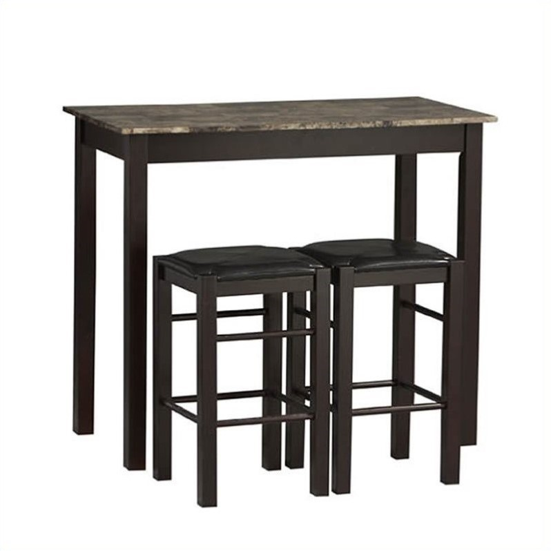 Linon Three Piece Tavern Dining Set in Espresso