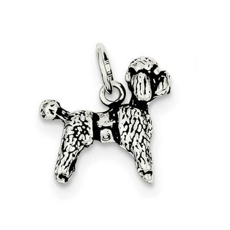 Sterling Silver Antiqued Poodle Charm