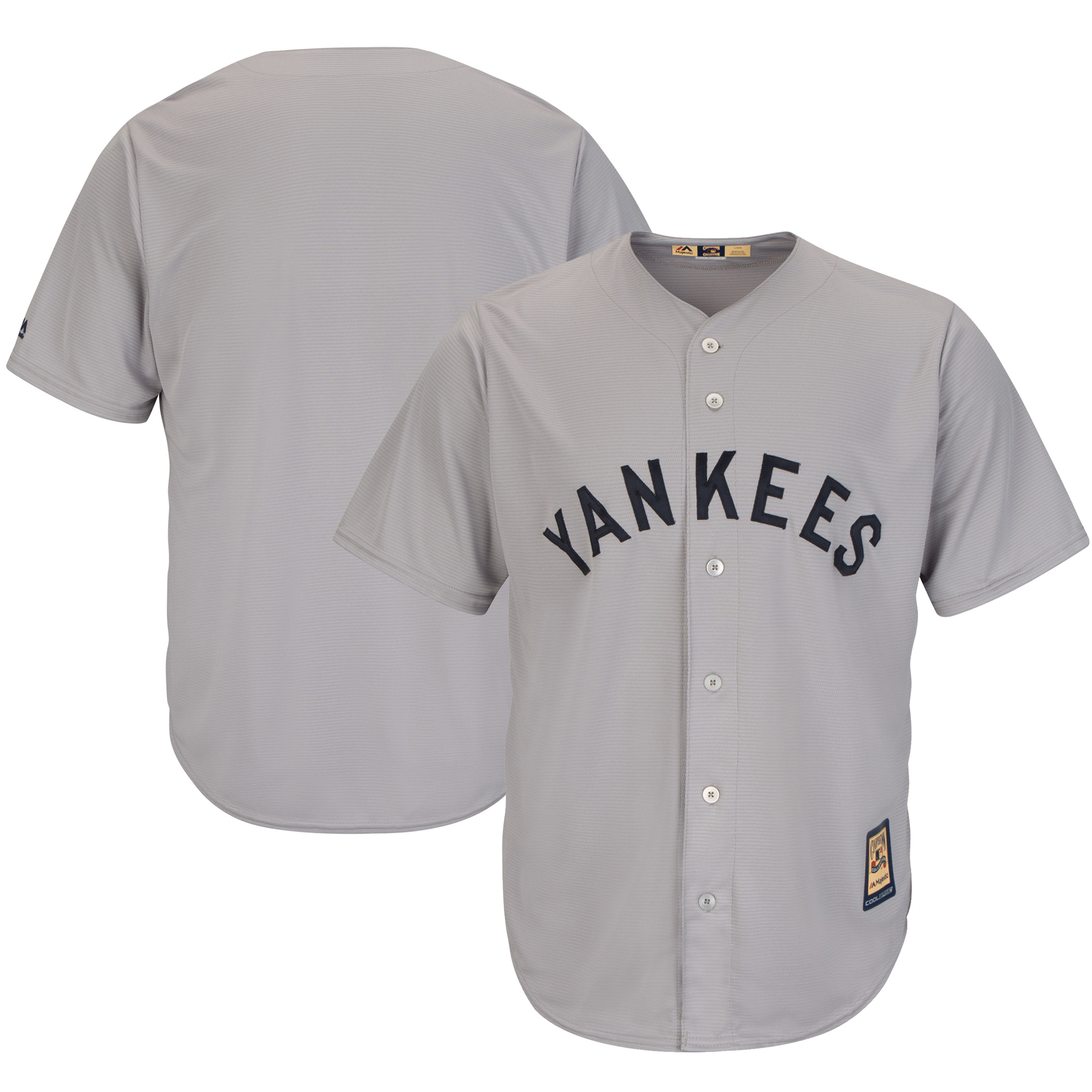 New York Yankees Majestic Cooperstown Cool Base Team Jersey Gray by MAJESTIC LSG