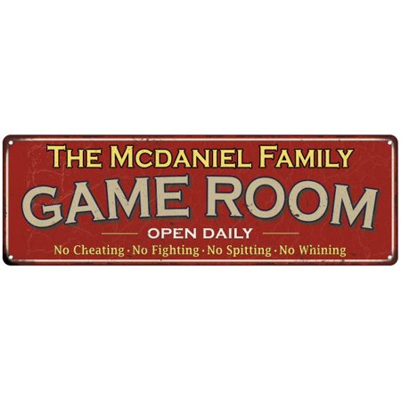 The Mcdaniel Family Personalized Red Game Room Metal 6x18 Sign (Mcdaniel Metals)